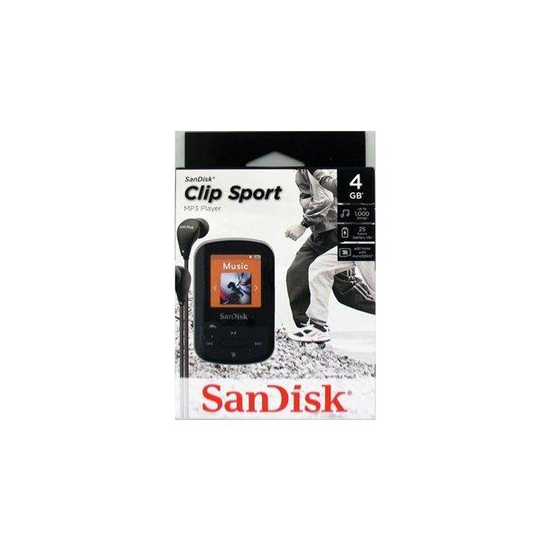 SANDISK Sansa Clip Zip Sport 4GB Sort med FM-Radio