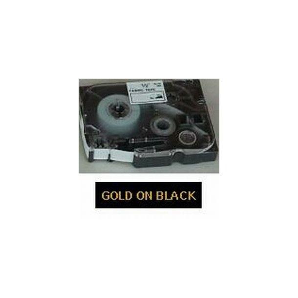 Brother TZ tape guld tekst på sort tape