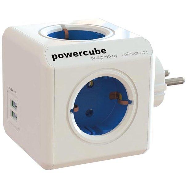 PowerCube vægudtag strømskinne, 4xCEE 2XUSB
