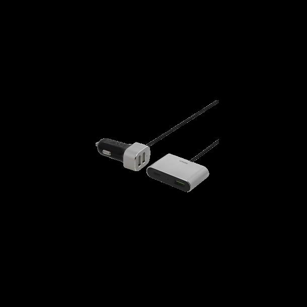 Billader 12V cigarstik, 4xUSB, Quick Charge, 1,5m kabel